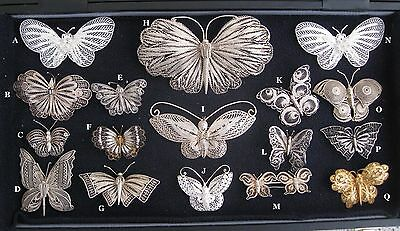 Lot Vintage Sterling Silver Filigree Butterfly Pin Brooches, 17 Amazing Pieces !