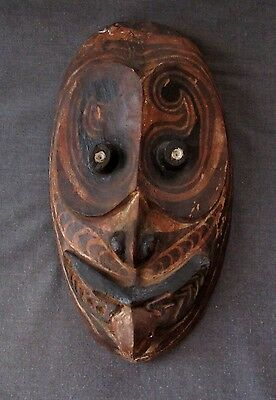 Papua New Guinea Carved Wood Mask Conus Shell Eyes