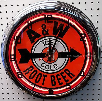 "17"" Ice Cold A&W Root Beer Sign Neon Clock A & W"