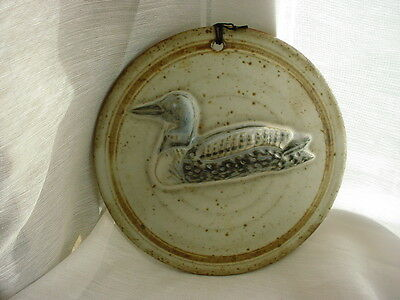 Vtg Loon Plaque Minnesota State Bird 5 inch Round Pottery Picture