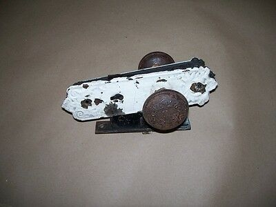 Antiques Victorian Iron Door Knob, Back Plates and CORBIN Lock. Sorry no key. NR