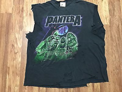 Vtg Pantera Heavy Metal Thrased Destroyed Rock Concert T-Shirt XL
