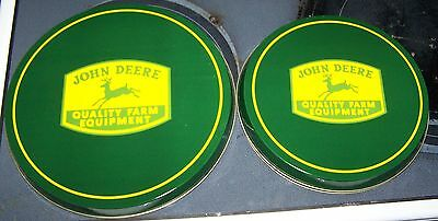 "John Deere 4 Piece Metal Burner Cover Set New In Package 2 -8"" & 2 - 10"""