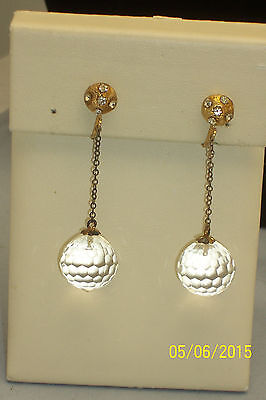 Vintage Faceted Lucite Dangle Ball Clip on Earrings