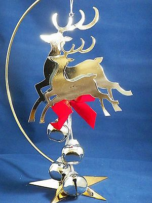 Silver Reindeer with Jingle Bell Dangle Christmas Tree Ornament new holiday