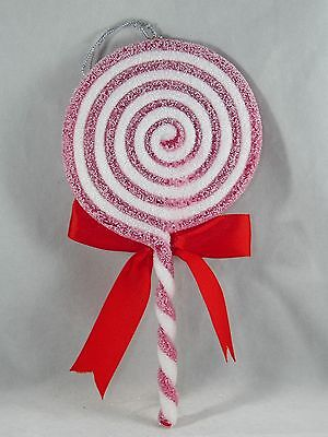 Red and White Swirl Glittered Lollipop Christmas Tree Ornament new holiday
