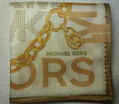 "MICHAEL KORS beige chain handkerchief 50x50cm(19.69"") cotton 100% made in Japan"