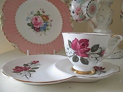 Pretty Red Roses Vintage Queen Anne Tennis Set