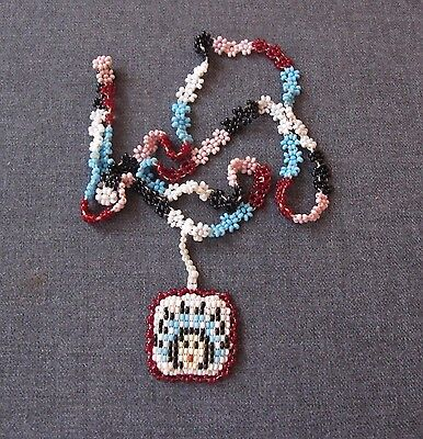 Vintage 70's Native American Indian Chief Beaded Flowers Strap Necklace