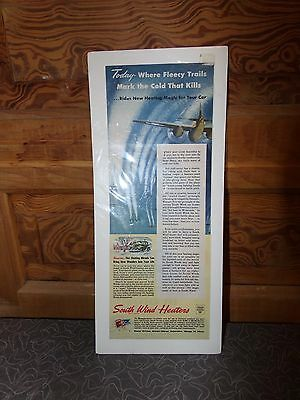 Vintage WWII South Wind Heaters Magazine Ad WWII Airplane Bombers