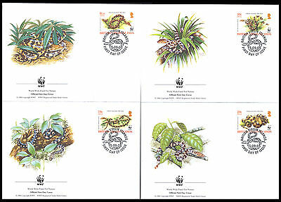 2005 British Virgin Islands - Wwf - Snakes - 4 Covers - Fdc - Cover - J44