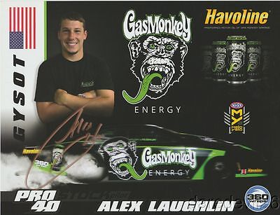 2016 Alex Laughlin + Richard Rawlings signed Gas Monkey Camaro PS NHRA postcard