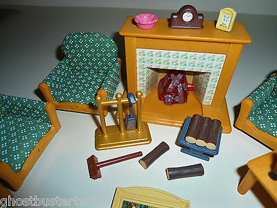 Epoch Calico Critters Country Miniature House Living Room Fireplace Logs Set Lot
