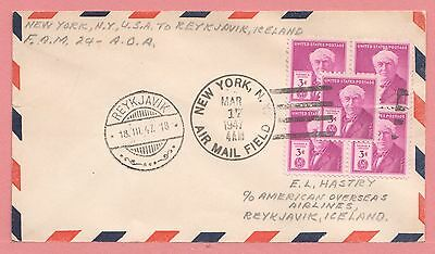 Unusual Frank 1947 First Flight Cover Ny Amf To Iceland Fam 24 Aamc F24-30F