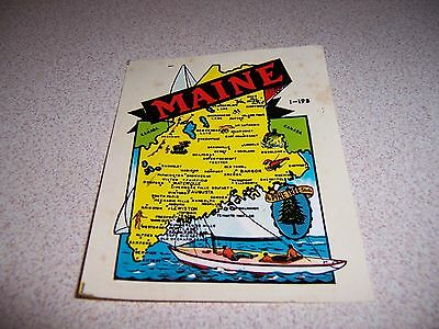 1960s VTG MAINE STATE MAP SOUVENIR CAR WINDOW DECAL