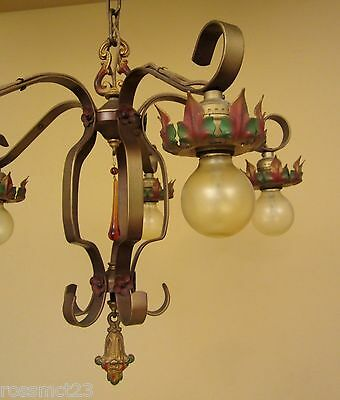 Vintage Lighting 1920s chandelier original polychrome