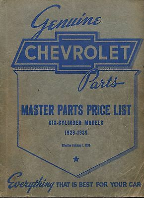 1929-1939 Chevrolet Chevy Master Parts Price List Catalog Manual 6 Cylinder