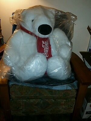 GIANT COCA COLA POLAR BEAR Large Plush Stuffed Animal New in Bag