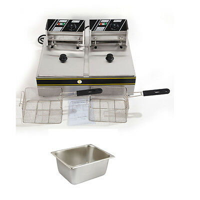5000W Electric Countertop Deep Fryer  Stainless Steel Dual Tank Commercial 12L