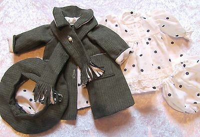 Dolls Clothes Set. Coat, Hat, Scarf, Dress and Knickers.