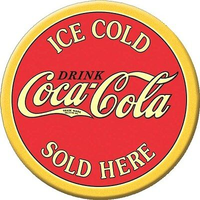 Ice Cold Coca-Cola Coke  3 Inch Diameter Round  Tin Metal Sign Magnet
