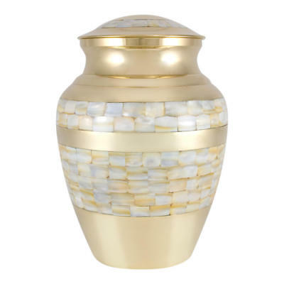 Perfect Memorials Medium Brass Mother Of Pearl Cremation Urn