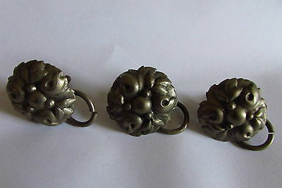 Set 3 Antique French Toleware Silvered Art Deco Berry/leaf Door Knobs & Handles