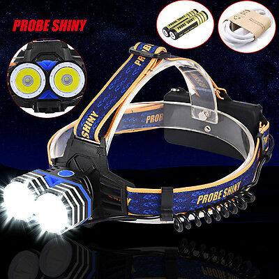 2X XML T6 10000LM Headlamp Headlight Flashlight Head Torch + Batteries +USB Line
