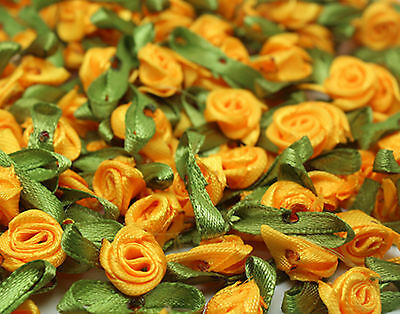 50PCS Satin Ribbon Rose Flower DIY Craft Wedding Appliques 12mm DIY orange