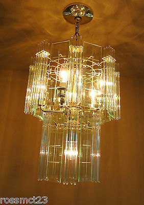 Vintage Lighting pair 1970s Mod glass rod chandeliers