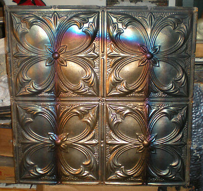 SALE Antique Victorian Ceiling Tin Tile Iridescent Gothic Quatrefoil Flower Chic
