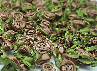 50PCS Satin Ribbon Rose Flower DIY Craft Wedding Appliques 12mm DIY light coffee