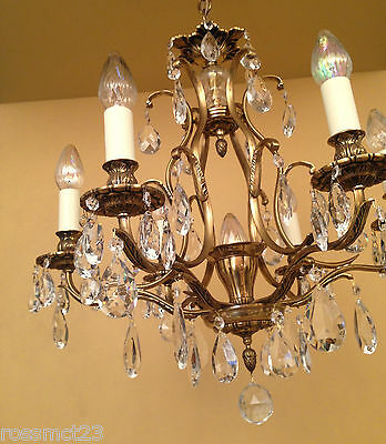 Vintage Lighting matched pair 1960s Hollywood Regency crystal chandeliers