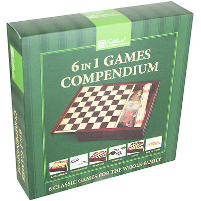 6 In 1 Wooden Game Compendium, Toys & Games, Brand New