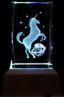 Pegasus Earth and Star Laser Inscribe Crystal LED Night Light Gift DRLG03D
