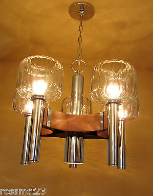 Vintage Lighting antique 1970s Mod chrome wood chandelier  Striking Glass Shades