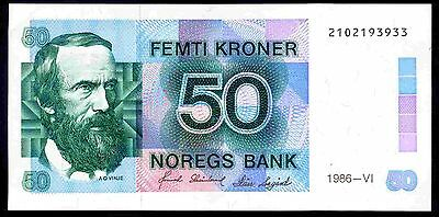 Norway. 50 Kronor.  2102193933, 1986-VI. Good Very Fine or better.