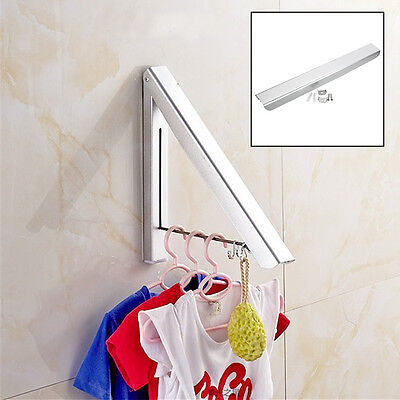 Stainless Folding Wall Hanger Mount Retractable Clothes Indoor Towel Hanger Rack