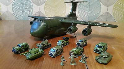 Lot #15 Micro Machines Military X9 Vehicles and Carrier Plane job lot USA Army