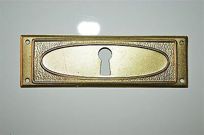 Original antique pressed brass escutcheon plate keyhole chest furniture KP13