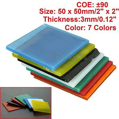 7 Sheets Of COE 90 Bullseye 7 Colors 3mm Kiln Fusing Glass Supplies 50x50mm New