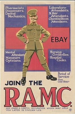 Ww1 Recruiting Poster Royal Army Medical Corps Ramc British Army New A4 Print