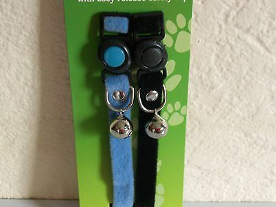 Pair Of  Soft Touch  Cat Collars  With Bird Warning Bells 1Xblue.1Xblack New