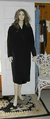 Vintage 40s Soft Black Wool Cocoon Wrap Coat with Shawl Collar M/L