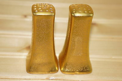 """Pickard Gold Textured Square Salt & Pepper Shaker Set w/ Stoppers 16 Holes, 3"""""""