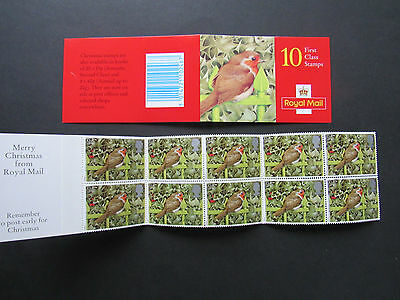 1995 Royal Mail Christmas Stamps Booklet 10 x 1st First Class Stamps 25p ROBIN