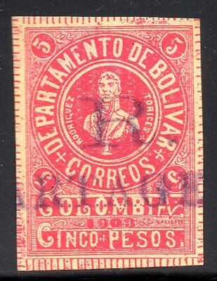 "COLOMBIA - BOLIVAR - 5p  REGISTRATION STAMP - ""R CARTAGENA"" - Sc 67b - 1903"