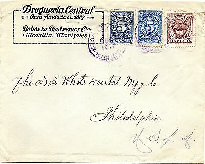 Colombia - Usa - Numerals - Commercial Late Fee (Retardo) Cover - Medellin  1917