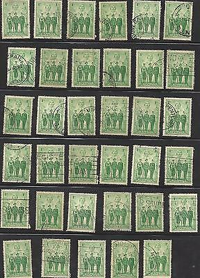 1d Green Australian armed forces Bulk lot of 35 used stamps