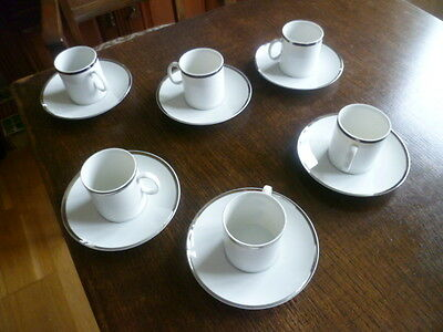 6 Vintage Thomas Germany Platinum Medallion Wide Band China Coffee Cup & saucers